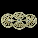 Vintage Triple Round Flower Brooch Broach Pins Clear Rhinestone Crystals XBY067