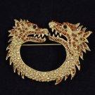 """Wonderful Animal Brown Rhinestone Crystals 2 Dragon Brooch Broach Pin 2.7"""""""