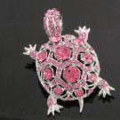 Exquisite Animal Pink Turtle Tortoise Brooch Broach Pin Rhinestone Crystals 3631