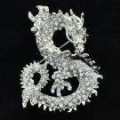 Cute Animal Dragon Brooch Broach Pin w/ Clear Rhinestone Crystals 2980