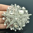 Showy Clear Starfish Hair Comb Head Jewelry Rhinestone Crystals Wedding 6412