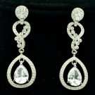 Wedding Zircon Drop Dangle Flower Earrings With Clear Rhinestone Crystals 20633