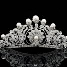 Faux Pearls Swarovski Crystal Princess Wedding Flower Tiara Crown Pageant 14003R