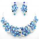Charming Sea Blue Flower Butterfly Necklace Earring Set Rhinestone Crystal 05661