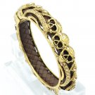 Vogue Brown Leather Gold Rhinestone Crystals 3 Skull Bangle Jewelry SKCA2004M