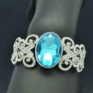 Fashion Silver Tone Butterfly Blue Round Rhinestone Crystals Bangle Cuff E9063B