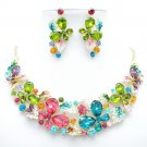 Beautiful Flower Leaf Butterfly Necklace Earring Sets Rhinestone Crystals 05661