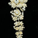 "Vogue Large Flower Brooch Pin 7.9"" Women Party Gold Tone Rhinestone Crystal 4704"