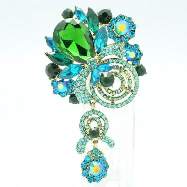 Dossy Pendant Jewelry Green Rhinestone Crystals Flower Fruit Brooch Broach 6456