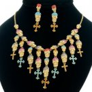 Mix Rhinestone Crystals Cross Skeleton Skull Necklace Earring Set For Halloween