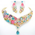 Hot Multicolor Art Deco Drop Flower Necklace Earring Set Rhinestone Crystal 5103