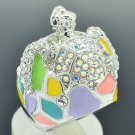 Rhinestone Crystals Enamel Pretty Multicolor Turtle Cocktail Ring 7# SRA2165-1