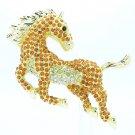 Rhinestone Crystals Topaz Horse Brooch Broach Pin Jewelry Accessories FA3171