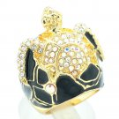 Tough Chic Rhinestone Crystals Black Enamel Turtle Cocktail Ring Sz 7# SRA2165-2