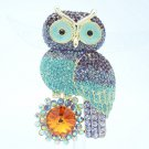 Rhinestone Crystals Lovely Purple Owl Brooch Broach Pin Jewelry FA3183