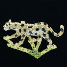 Yellow Rhinestone Crystal Leopard Panther Brooch Broach Pin Accessories FA3176
