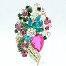 Multicolor Flower Costume Brooch Hat Pin Austrians Crystal Women's Jewelry 6452