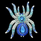 VTG Style Drop Rhinestone Crystals Blue Spider Tarantula Brooch Broach Pins 6485