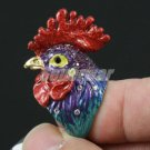 Excellent Swarovski Crystals Dossy Blue Rooster Cock Ring Size 7# Acceessories