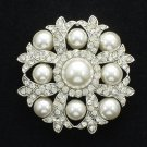 Cute Imitated Pearl Wedding Flower Brooch Broach Pin Rhinestone Crystals FB1201