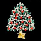 Chic Mix Rhinestone Crystal Flower Christmas Tree Brooch Pin for Gift Party 4564