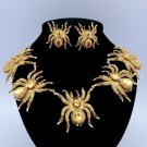 Fabulous Chic Brown Rhinestone Crystals 5 Tarantula Spider Necklace Earring Set