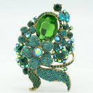 Flossy Green Flower Leaves Brooch Broach Pin Rhinestone Crystals Jewelry 6409