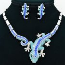 Rhinestone Crystals Blue Lizard Gecko Necklace Earring Set Women Jewelry FA3274