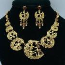 VTG Style Swarovski Crystals Skeleton Skull Necklace Earring Set Women's Jewelry