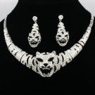 Rhinestone Crystal Silver Tone Animal Tiger Necklace Earring Set Women's Jewelry
