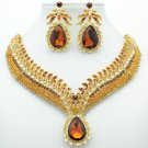 Brown Rhinestone Crystals Drop Leaf Flower Necklace Earring Jewelry Sets 05804