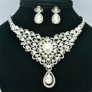 Delicate Clear Rhinestone Crystals Flower Necklace Earrings Wedding Set SET760