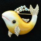 Swarovski Crystals Enamel Yellow Fish Dolphin Brooch Broach Pin SBA4520