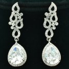 Bride Drop Dangle Pierced Flower Earring Clear Rhinestone Crystals Zircon 20524