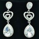Drop Zircon Rhinestone Crystal Triple Dangle Clear Heart Pierced Earring 20678