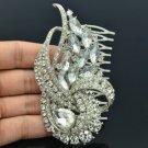 Rhinestone Crystals Ribbon Drop Flower Hair Comb Tiara For Wedding Bridal 4243FS