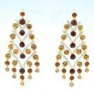 Topaz Swarovski Crystals Pierced Flower Earring Jewelry Gold Tone Drop Dangle