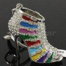 Multicolor Enamel High-Heel Shoe KeyRing Key Chain W Rhinestone Crystal FB1082