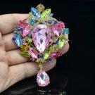 """Teardrop Flower Brooch Broach Pin 3.5"""" W/ Mix Rhinestone Crystals 4082"""