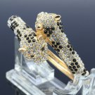 Rhinestone Crystals Gold Tong Animal Panther Leopard Bracelet Bangle Cuff 20394