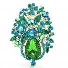 "Retro Green Rhinestone Crystals Teardrop Flower Brooch Broach Pin 3.1"" 5844"