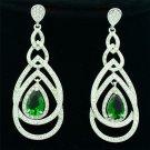Green Zircon Rhinestone Crystals Pretty Dangle Teardrop Heart Earrings 21507