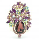 "Exquisite Grape Purple Rhinestone Crystals Flower Brooch Broach Pin 3.1"" 5844"