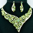 Green Rhinestone Crystals Vogue Flower Necklace Earring Jewelry Sets 5150
