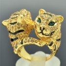 Handsome Gold Tone Brown Rhinestone Crystal Animal 2 Tiger Ring Size 8# SR2018-1