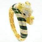 Fancy Green Enamel Rhinestone Crystals Elephant Bracelet Bangle Cuff 2251L