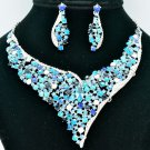 Trendy Blue Rhinestone Crystals Flower Necklace Earring Sets Party Jewelry 5150