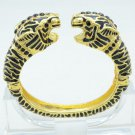 Vogue Tough Gold Tone Black Rhinestone Crystals 2 Leopard Panther Bracelet Cuff