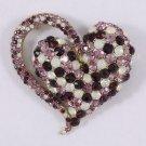 "Beautiful Purple Rhinestone Crystals Heart Brooch Broach Pin Jewelry 2.6"" 4817"
