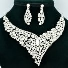 Chic Clear Rhinestone Crystals Flower Necklace Earring Wedding Jewelry Sets 5150